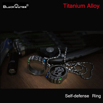 BLACKWATER T0MCAT Titanium Alloy +Tungsten Steel Self Defense Ring With Tritium 22mm