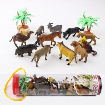 Original 12 unids / set Dinosaur Ocean Wild Animales de Granja Modelo Niños Figura Colección Juguetes