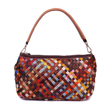 Genuine Leather Multi-colors Weave Handbag Shoulder Bag