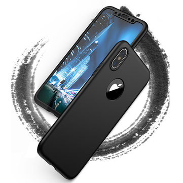Bakeey™ 360° Full Body PC Protective Case With Tempered Glass Film for iPhone X