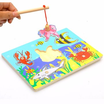 Children Kids Wooden Magnetic Small Fishing Toys Mini Ocean Puzzle Intellectual development Toys