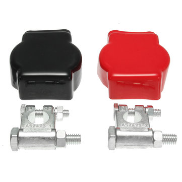 Military Style Battery Terminal Top Post Kit (+ and -) With Covers