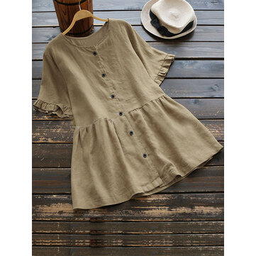 Casual Women Cotton Loose Short Sleeve Round Neck Blouse