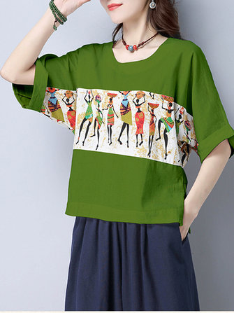 Ethnic Women Half Sleeve Print Loose T-shirts