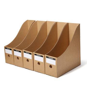 5pcs File Storage Box Folder Book Frame Kraft Paper Table Storage Box for Home Office