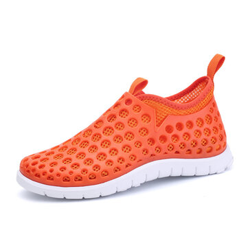 Mesh Match Color Slip On Flat Light Sneakers