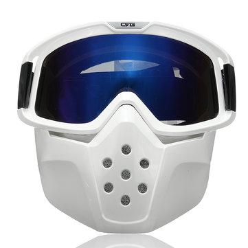 Detachable Goggles Face Mask Helmet Modular Shield Motorcycle Riding Blue Lens
