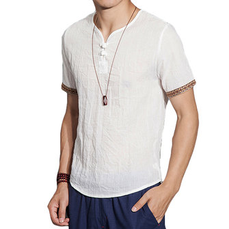 Mens Linen Chinese Style Retro Solid Color Summer Shirt