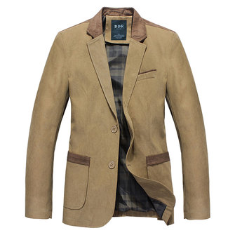 Mens Autumn Winter Casual Stitching Jacket Slim Fit Single-breasted Business Blazer