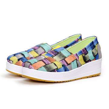 Pattern Match Canvas Rocker Sole Slip On Casual Shoes