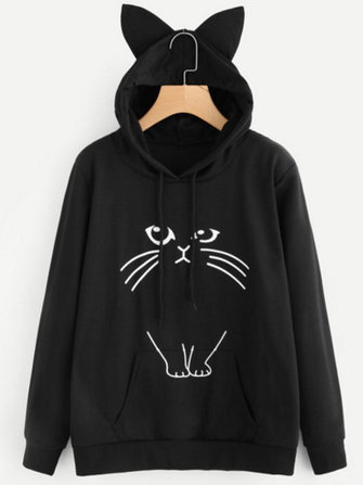 Casual Cute Cat Printed Cat Ears Hooded Women Sweatshirts