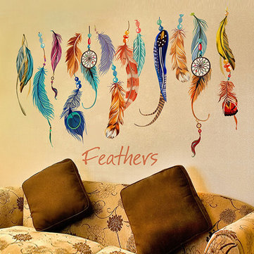 Fashion Dream Catcher Feathers Removable Wall Sticker Mural Art Vinyl Decals