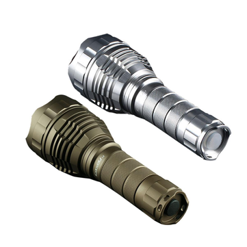 Sand Silver Color Convoy L2 XPL HI 1100LM 4Modes Steppess Dimming Tactical LED Flashlight with 2 Tubes