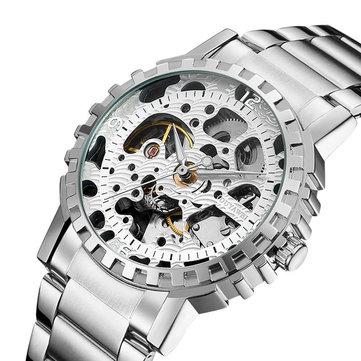 OUYAWEI YW1401_B Self-Wind Mechanical Watch Stainless Steel Strap Men Wrist Watches