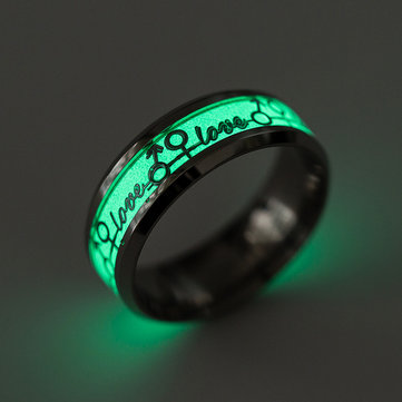 Trendy Couple Love Ring Titanium Steel Party Luminous Finger Ring for Men Women