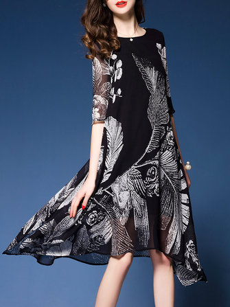 Elegant Printed Swing Dress