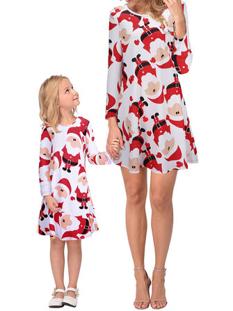Women Christmas Snowman Print Parent-child Dress