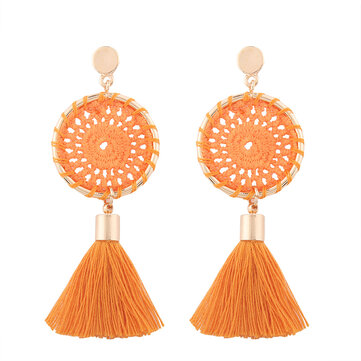Women's Trendy Knitted Handmade Long Tassel Earrings Female Drop Dangle Earrings Jewelry