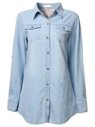 Casual Women Solid Lapel Button Pocket Shirt Denim Blouse
