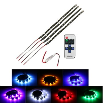Wireless Remote Control 15 LED Light Flexible Strip Motorcycle