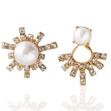 Asymmetric Earrings Sun Flower Artificial pearl Rhinestone Earrings For Women