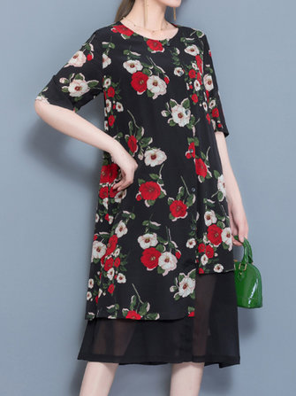 Elegant Women Floral Printed Fake Two Pieces Dress