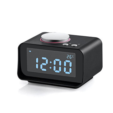 Loskii DC-14 LCD Digital Alarm Clock With Snooze FM Radio AUX In And Dual USB Charging Ports Alarm Clock With Backlight