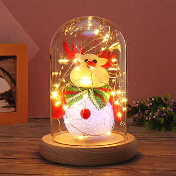 Glass Dome Bell Jar Cloche Display Wooden Base With Fairy LED Light Decorations Christmas Gift
