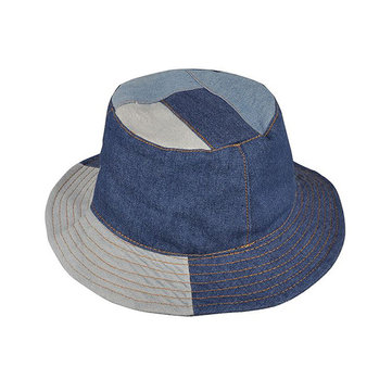 Men Washed Denim Patchwork Wide Brimmed Bucket Hat Outdoor Solid Visor Fishing Cap