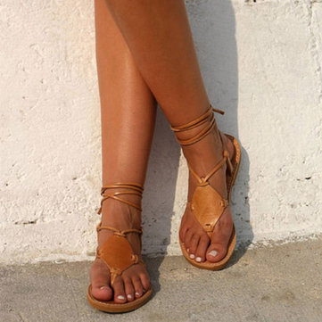 US Size 5-12 Roman Strappy Toe Tie Flat Casual Sandals