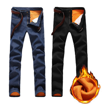 Fleece Liner Thick Warm Slim Fit Straight Leg Jeans for Men