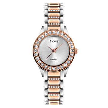 SKMEI 1262 Waterproof Ladies Wrist Watch Stainless Steel Strap Gift Quartz Watch