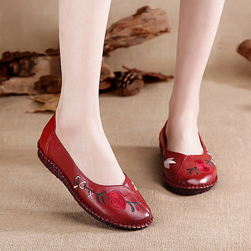 Women Handmade Leather Shoe Round Toe Flat Loafers