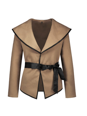 Women Elegant Belt Sexy Long Sleeve Woolen Coats