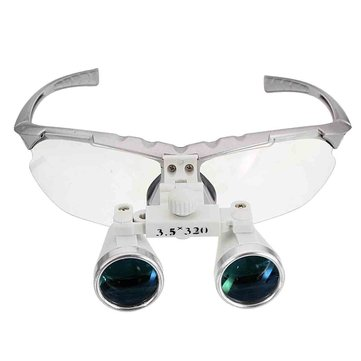 3.5X 320mm Dental Surgical Binocular Loupes Optical Glass LED Head Light Lamp