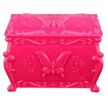 Butterfly Plastic Double Layer Jewelry Storage Organizer Box