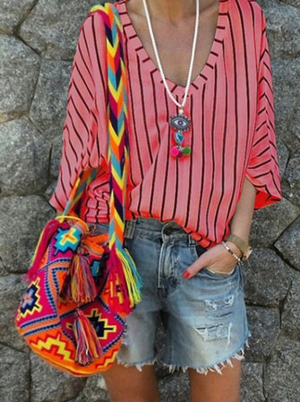 Women Casual Striped V-Neck Blouse