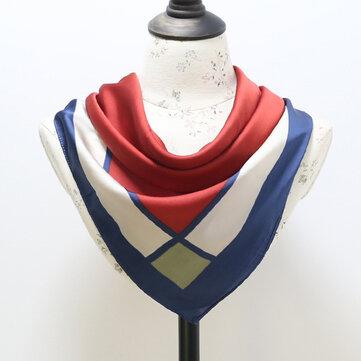 Fashion Vintage Geometrische Silk Small Hoofddoek Vrouwen sjaal Spring Lattice Stripe plein shawl sjaal