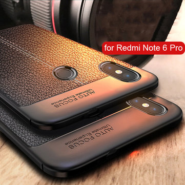 Bakeey Litchi Pattern Soft TPU Anti-fingerprint Back Protective Case For Xiaomi Redmi Note 6 Pro