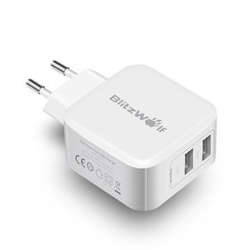 BlitzWolf® BW-S2 4.8A 24W Dual USB EU Charger With Power3S Tech for iphone 8 8 Plus iphone X Xiaomi