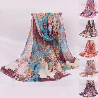 Women Ladies Flower Sky Wheel Printed Voile Scraves Stole Long Soft Shawl Wrap