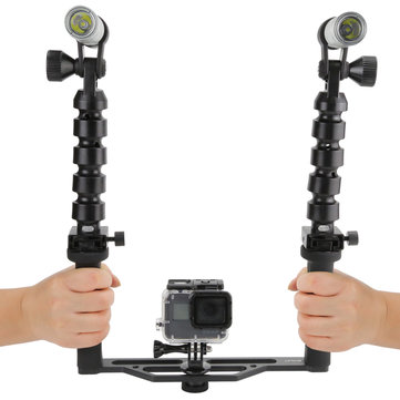 SHOOT Scuba Diving Two-Handle Flex Arm Tray Under Water Video Flashlight for Gopro SJcam Yi