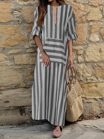 Women Cotton Loose Striped Long Sleeve Dress with Pocket