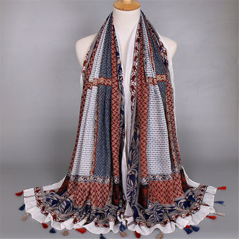 Women Ladies Bohemian Geometric Tassel Cotton Blend Scarves Voile Warm Long Shawls