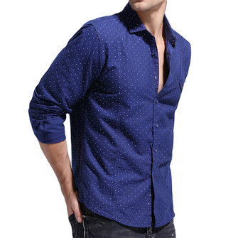 Cotton Dots Printing Chest Pocket Long Sleeve Business Shirt