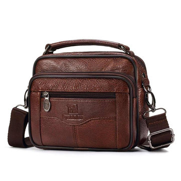 FUZHINIAO Men Genuine Leather Messenger Bag Trip Small Crossbody Shoulder Bag Male Handbag