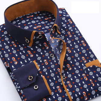 Mens Polka Dot Grid Printed Fashion Long Sleeve Slim Casual Business Dress Shirt