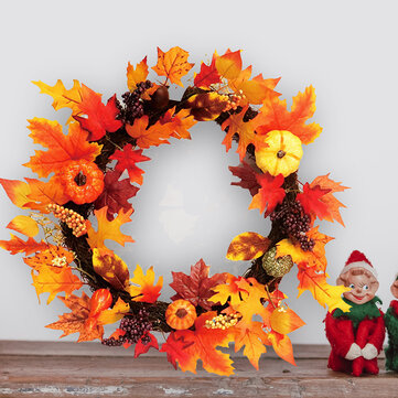 60cm Christmas Maple Leaves Grape Berry Wreath Garland Door Hanging Crafts Decorations