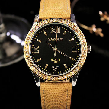 YAZOLE 359 Fashion Women Quartz Watch Retro Crystal Gold Luxury Genuine Leather Watch Ladies Watch