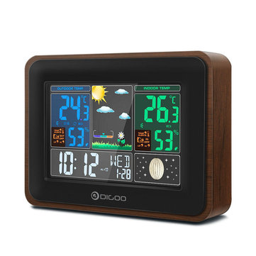 Digoo DG-TH8878 Wood Grain USB Charge Port Output Version Wireless Weather Station Full-Color Screen Digital Moon Phase Hygrometer Humidity Thermometer Temperature with Outdoor Sensor Clock